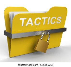 Tactics Folder With Padlock Shows Business Strategy 3d Rendering