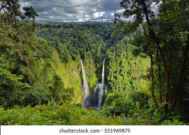 The Tad Fane waterfall, on the Bolaven Plateau in Laos, a few kilometers west of Paksong Town, in Champasak Province, within the Dong Houa Sao National Protected Area. The water drops about 120 m.