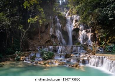 Tad Kuang Si falls the famous turquoise waterfall in Luangprabang ,Northern  Laos.
