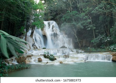 Tad Kwang Si Waterfall, Luang Prabang, Laos. 4 floor limestone waterfall.