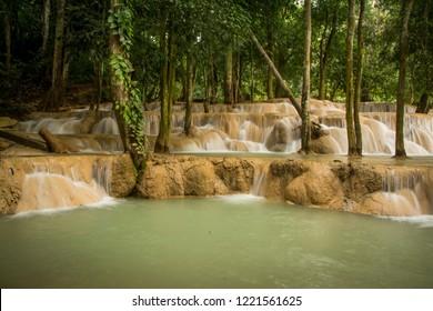 Tad Sae Waterfall in Luang Prabang Province, Laos.