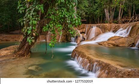 Tad Sae waterfalls near Luang Prabang, Laos