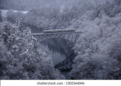 Tadami line in fukushima city In Japan running through the heavy snow.