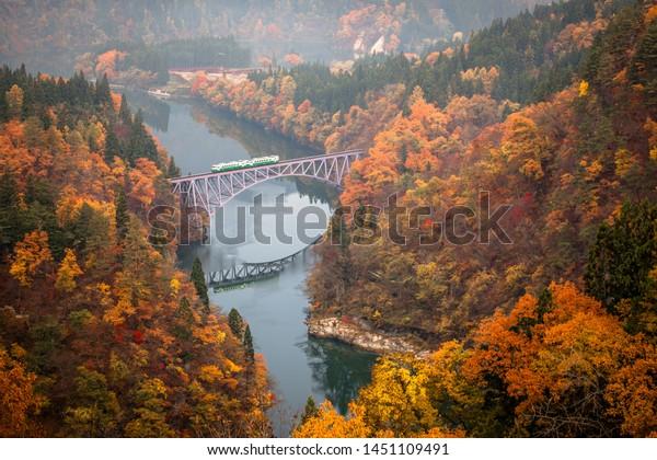Tadami River First Bridge Viewpoint in Autumn, Fukushima, Japan
