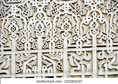 Tadelakt / Qadad / Qudad / Traditional Decorative Waterproof Plastering Close Up from Bou Inania Madrasa, Meknes, Morocco