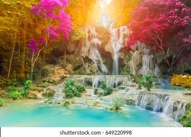 Tadkwangsi Waterfall, beautiful waterfall with sunlight rays in deep forest.laos
