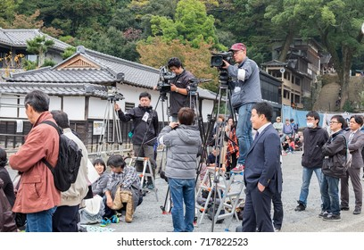 TADO SHRINE , KUWANA, JAPAN - NOVEMBER 23, 2015: Lot of video camera operators and reporters at Yabusame festival - a type of mounted or horseback archery in traditional Japanese style