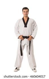Taekwondo black belt isolated with white background.