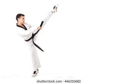 Taekwondo martial art kicking isolated with white background.