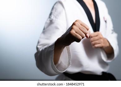 Taekwondo martial art , selective focus detail on human hand