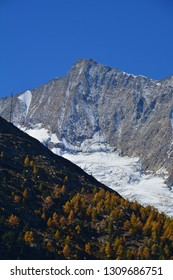 Taeschhorn of the Mischabel Group in the Southern Swiss Alps above Saas Fee