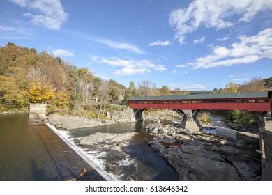Taftsville covers bridge in New England, Vermont, USA
