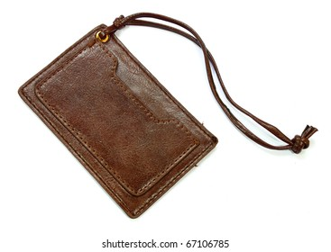 Tag brown leather isolated on white background
