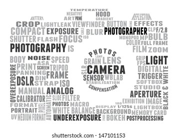 Tag cloud shaped as camera composed of words related to photography. Words in gray tones on white background