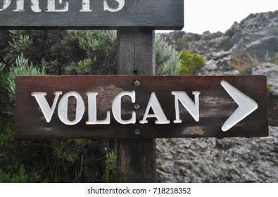 Tag and direction to volcano, Piton de la Fournaise, Reunion Island, France