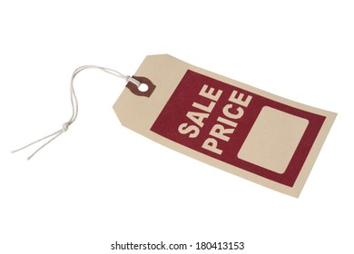 tag labeled with sale price on white