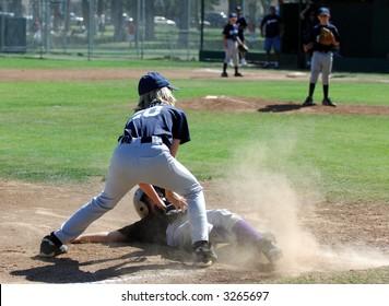 Tag Made At 3rd Base in a Baseball Game