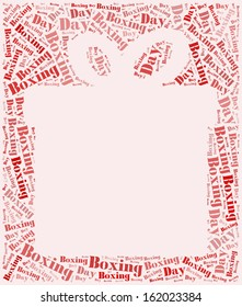 Tag or word cloud boxing day related in shape of gift box with empty space for photo