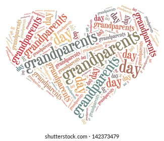 Tag or word cloud Grandparents day related in shape of heart