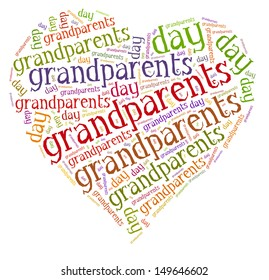 Tag or word cloud national grandparents day related in shape of hearth