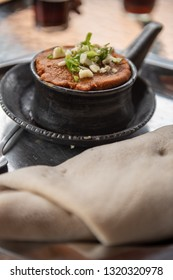 Tagabino is a traditional Ethiopian  dish made with Enjera and beans.