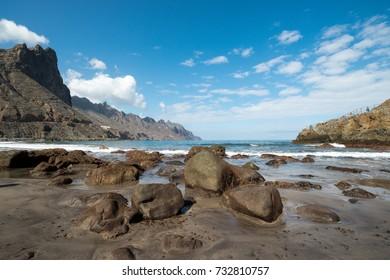 Taganana beach on a sunny day in Tenerife Spain