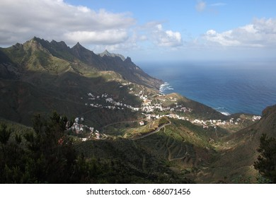 Taganana, sun and sadows, Tenerife, Canary Islands, Spain, white houses, blue sea, Atlantic ocean,
