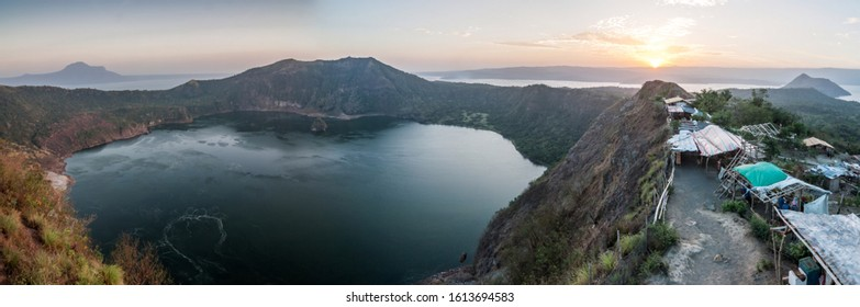 Tagaytay, Philippines - March 03, 2015: View from Taal volcano to the inner lake.