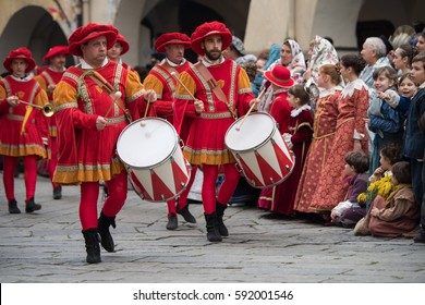 Taggia, Italy - February 26, 2017: Drummers at medieval festival in the historic city of Taggia in Liguria region of Italy