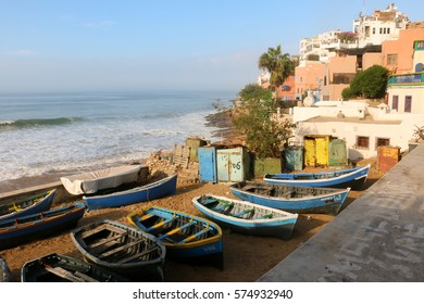 Taghazout Harbour, Morocco	 Fishing boats, brightly painted in the morning light