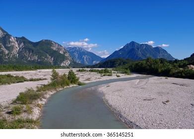 Tagliamento, a wild river in italian Alps