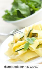 Tagliatelle pasta with zuccini, garlic and olive oil.