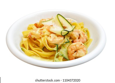 Tagliatelle with shrimp and zucchini