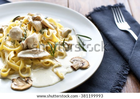 Tagliatelle vegetarian Pasta Dish with Mushrooms - Stock image