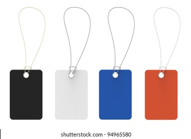 Tags of different shades on a white background