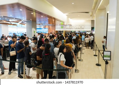 Taguig, Philippines - June 1, 2019: Filipinos are excited to try newly franchise Shake Shack