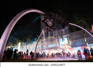 Taguig, Philippines - November 25, 2018: enjoying the fountain at Highstreet while showing Christmas lights