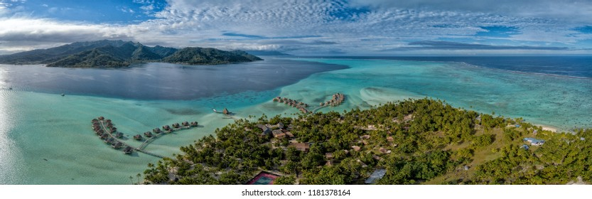Tahaa island french polynesia lagoon aerial view panorama landscape