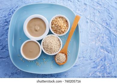 tahini and sesame seeds - food and drink
