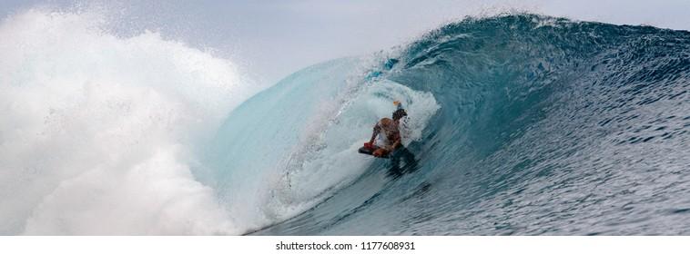 TAHITI, FRENCH POLYNESIA  big wave surfer