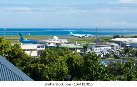 Tahiti, French Polynesia - January 10, 2016: An elevated view of Faaa International Airport in the South Pacific.