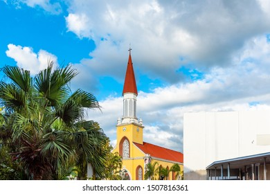 TAHITI, FRENCH POLYNESIA - SEPTEMBER 18, 2018: Cathedral of the Immaculate Conception of the Blessed Virgin Mary
