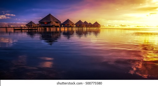Tahiti resort with sunset