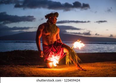 Tahitian dance at night by a Samoan Dancer in Maui