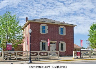 Tahlequah, Oklahoma / USA - April 21, 2019:  This building housed the Cherokee National Supreme Court since 1844, as well as the offices for the Cherokee Advocate, the newspaper of the Cherokee Nation
