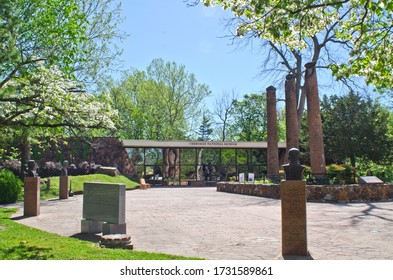 Tahlequah, Oklahoma / USA - April 21, 2019:  The Cherokee National Museum lies on the grounds of the Cherokee Heritage Center, where the tribe's history, culture and arts are preserved and celebrated.