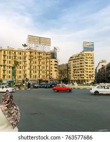 Tahrir Square, Cairo, Egypt, November 24 ,2017 : traffic in Tahrir Square.