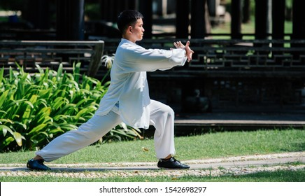 Tai Chi master workout in the park.
