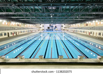 Taichung city, Taiwan,15th of Feb., 2018 : Brand new swimming pool with racing track and jumping platform.