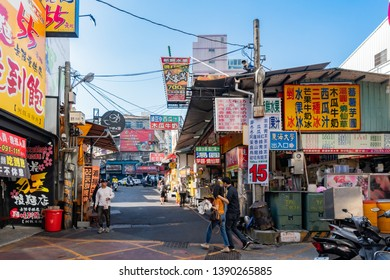 Taichung, DEC 20: Afternoon view of the stores in Tunghai night market on DEC 20, 2018 at Taichung
